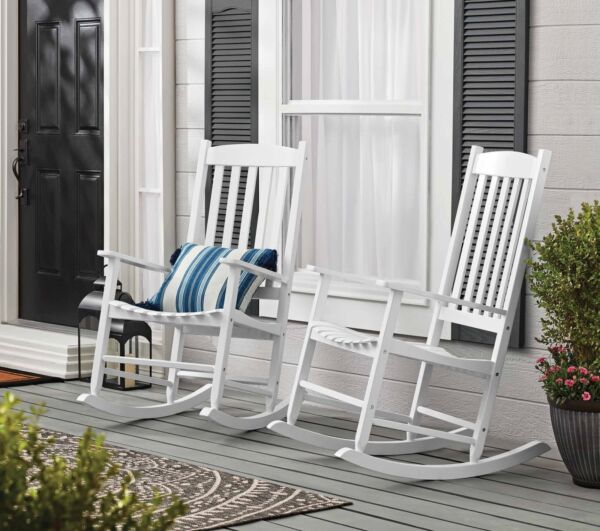 Mainstays Outdoor Wood Porch Rocking Chair White Color Weather Resistant Finis $87.30