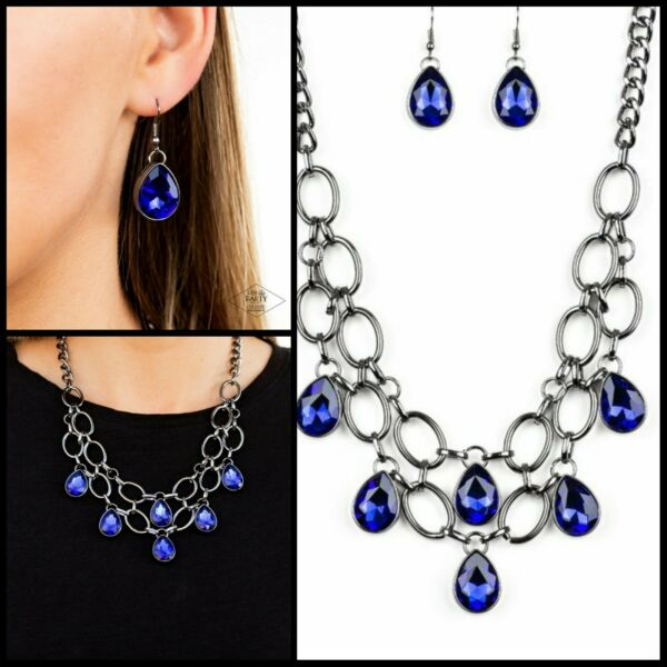 Paparazzi jewelry Show Stopping Shimmer Blue Teardrop Gem Black Chain Necklace