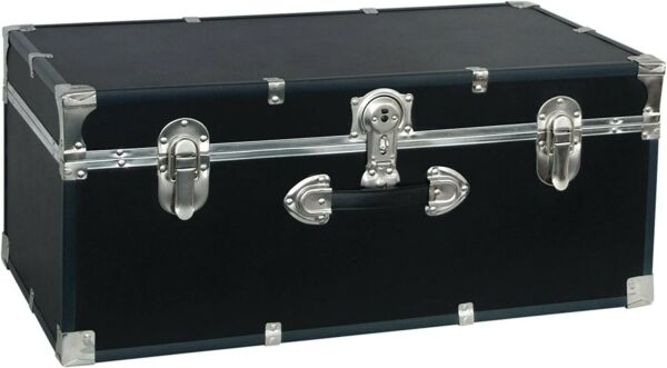 30quot; Black Storage Trunk for College Student Dorm Bedroom or Small Living Space $102.99