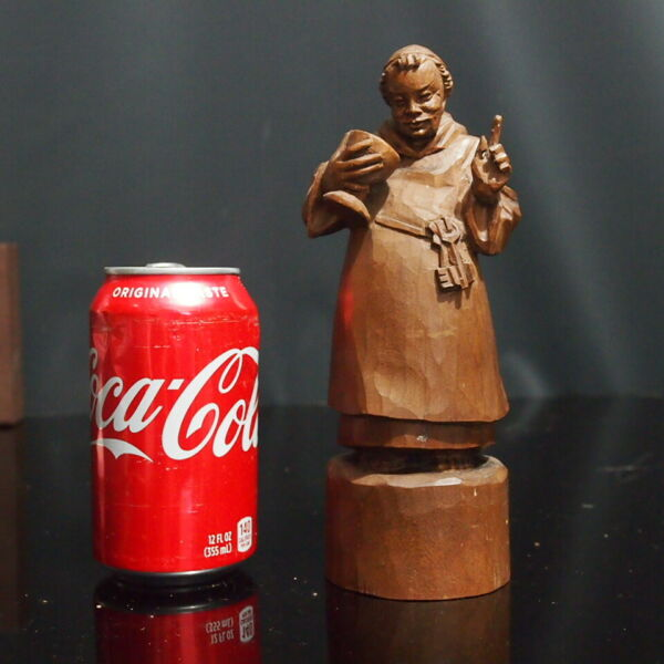 Vintage Black Forest Wood Carving Monk with Wine Glass German