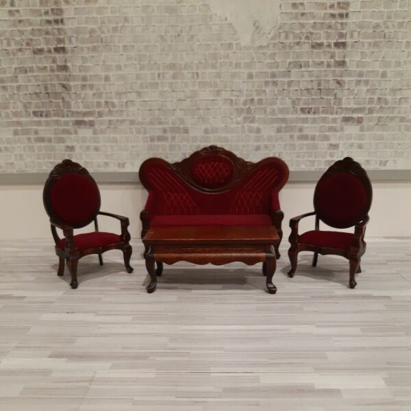 Dollhouse Miniatures 1:12 Sofa Two Chairs Coffee Table