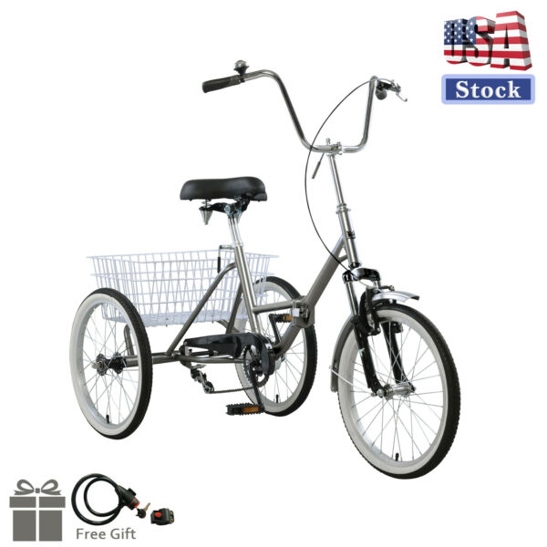 Adult Folding Tricycle Bike 3 Wheeler Bicycle Portable Tricycle 20quot; Wheels GY $319.00
