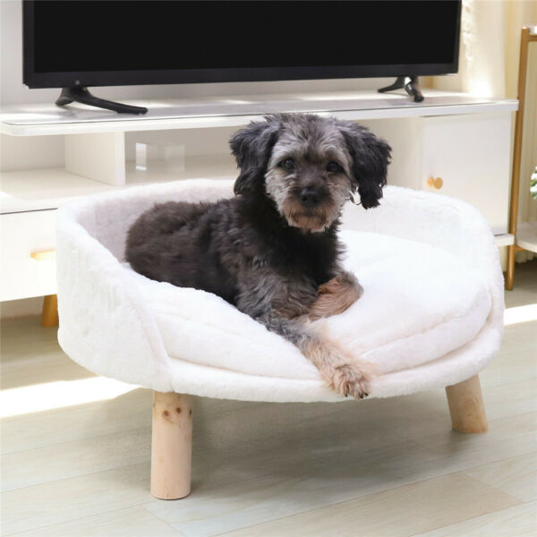 Dog Sofa Couch Lounge Elevated Cat Bed Pet 3 Legged Stool Raised Bed w Cushion $56.92