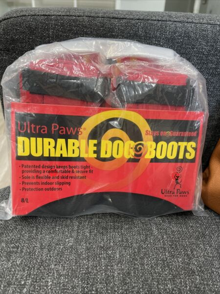 Ultra Paws Durable Dog Boots Size Large Red and Black Washable $14.20