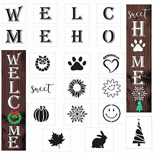 20 PCS Welcome Letter Stencils for Painting On Wood Large Home Reusable Porch S