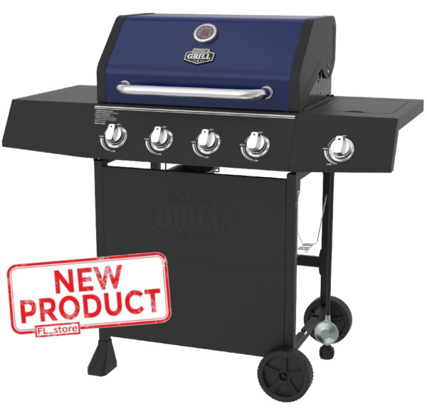 4 Burner BBQ Grill W Side Burner Gas Stainless Steel Propane Barbeque Grill NEW