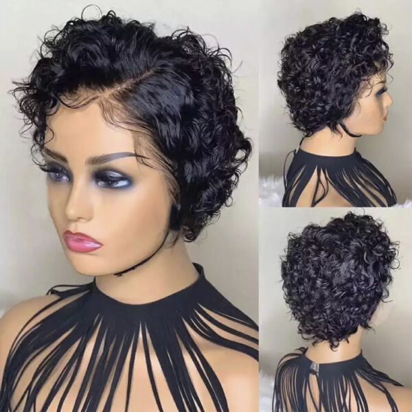 Women Short Curly Wig Twist Wig Human Hair Wigs One Size For Role Plays Daily FR