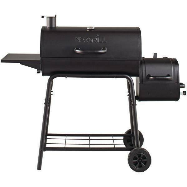 Outdoor Grill Cookout 29 in. Barrel Charcoal Grill Smoker in Black on Wheels New
