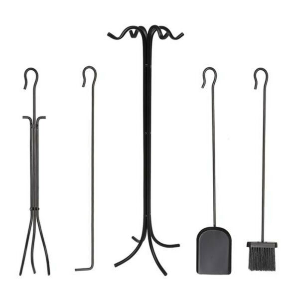 5pcs Hearth Tool Fireplace Tools Sets Stand Wrought Iron Stove Accessories Black