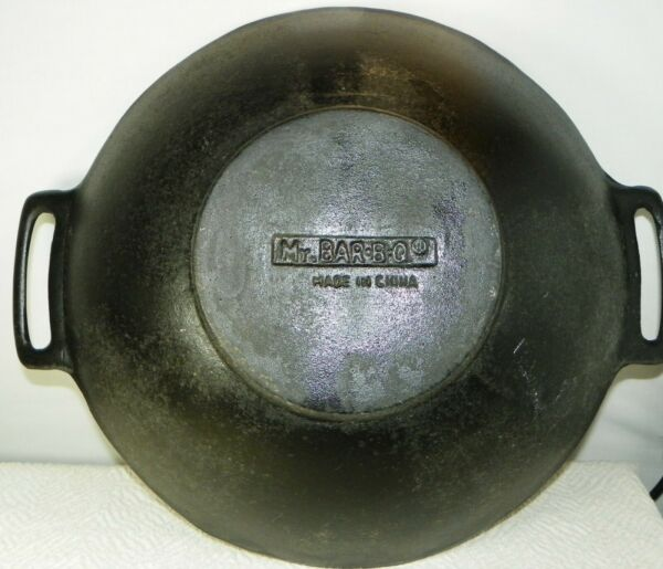 Stove Top Cast Iron Wok 14 inches Mr Bar B Q With Burner Stand