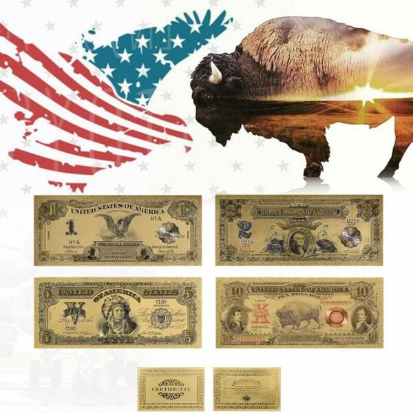 4 collectible Antique Bank Notes Gold Foil 1899 $1 $2 $5 and 1901 $10