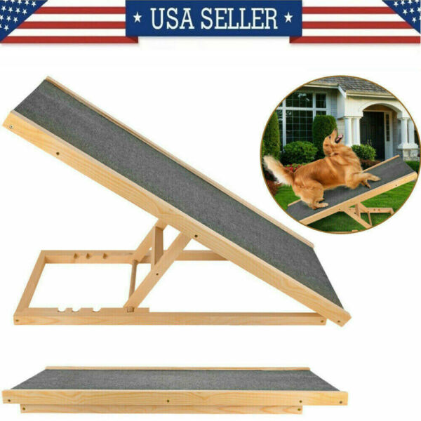 Pet Dog Cat Ramp 4 Adjustable Heights Bed Couch 40quot; Folds Flat Support 110lb US $65.99