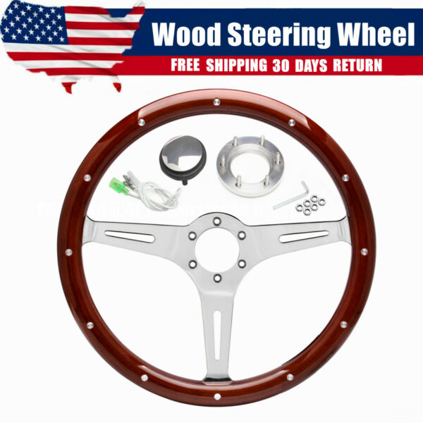⭐14quot; Inch Classic Wood Steering Wheel Riveted 3 Spoke w Horn For Chevy Ford GMC $108.69