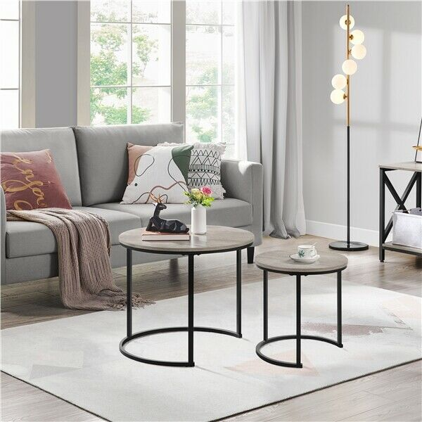 Nesting Coffee Table Sets Round Wooden Tabletop Side Table Sets for Living Room