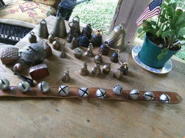 Collection Large Lot Of 37 Old Metal Antique Bells