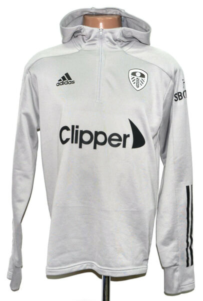 LEEDS UNITED 2020 2021 TRAINING 1 2 ZIP HOODED TOP JERSEY ADIDAS SIZE M ADULT