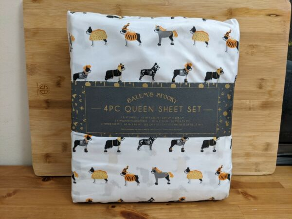 Salem#x27;s Spooky Halloween Dogs Costumes 4 Piece Set Queen Bed Sheets Pillowcases $49.00