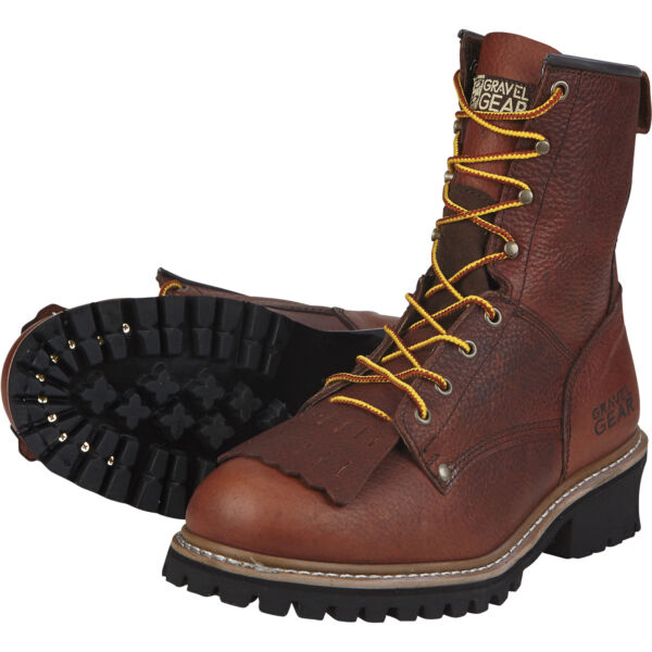 Gravel Gear Men#x27;s 8in. Logger Work Boots Brown Size 10 1 2 Wide