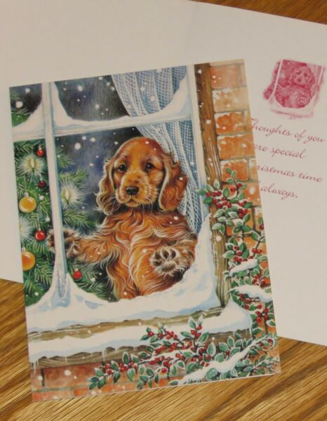 Vintage Dog Christmas Cards Puppy In The Window Paper Magic Group 10ct $9.94