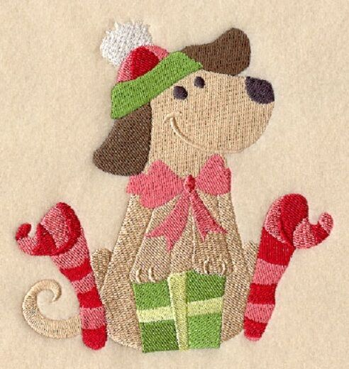 Embroidered Sweatshirt Dog Opening Presents D6171 Size S XXL $28.99