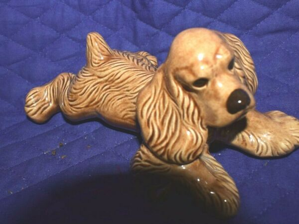 Estate On of a kind hand made ceramic Cocker Spaniel Lying Down Dog LOOK $3.79
