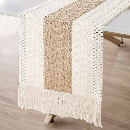 Macrame Table Runner Splicing Cotton and Burlap Table Runner 12 x 72 Inch