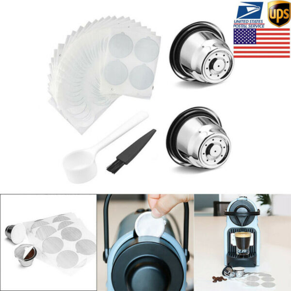Stainless Steel Coffee Capsule Cup Reusable Refillable Pod For Nespresso Machine