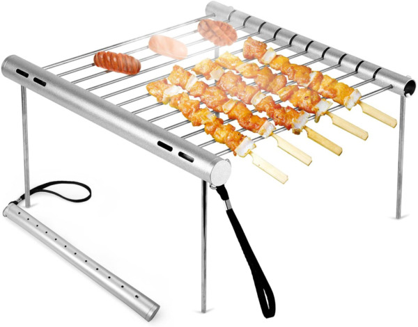 Portable Camping Grill Folding Compact Stainless Steel Charcoal Barbeque Grill