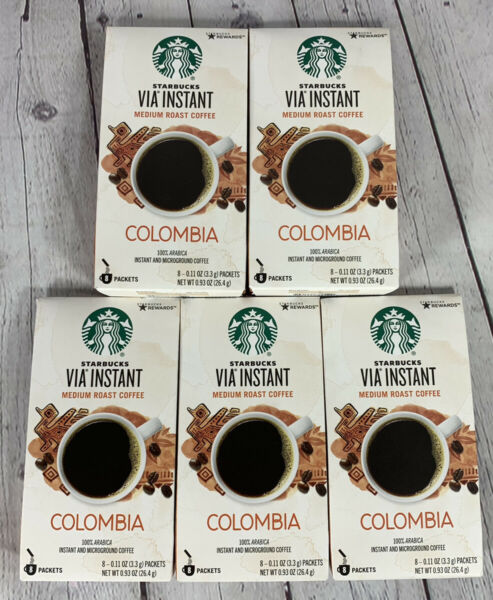 Starbucks Via COLOMBIA Arabica INSTANT Coffee 5 Boxes Of 8 Packets