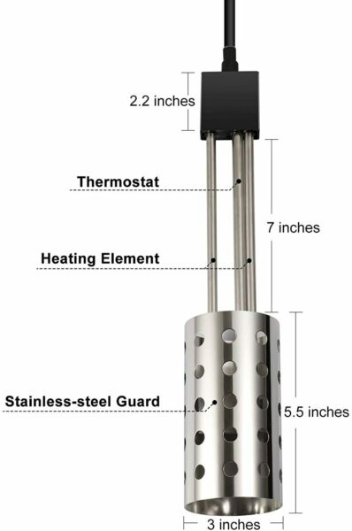 1500W Electric Immersion Heater Bucket Water Heater W 304 Stainless Steel Guar $49.88