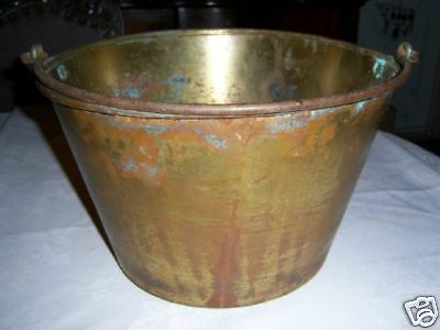 ANTIQUE COUNTRY PRIMITIVE ANSONIA BRASS SYRUP PAIL AMERICANA FARM HOME TOOL ART