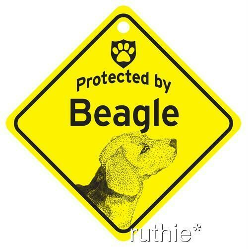 Protected by Beagle Dog Window Sign Made in USA $6.99