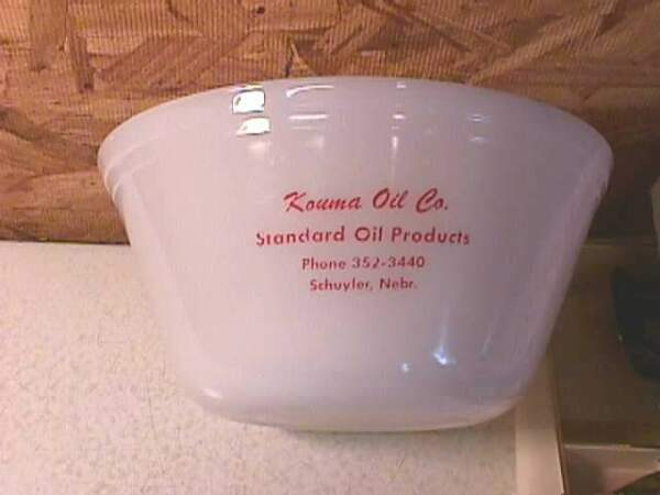 Old Federal Glass Bowl Kouma Standard Oil Schuyler Nebraska