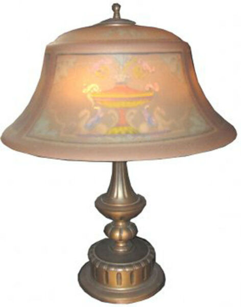 Antique Signed Pairpoint Table Lamp Reverse Painted Pegasus & Floral Shade 9008
