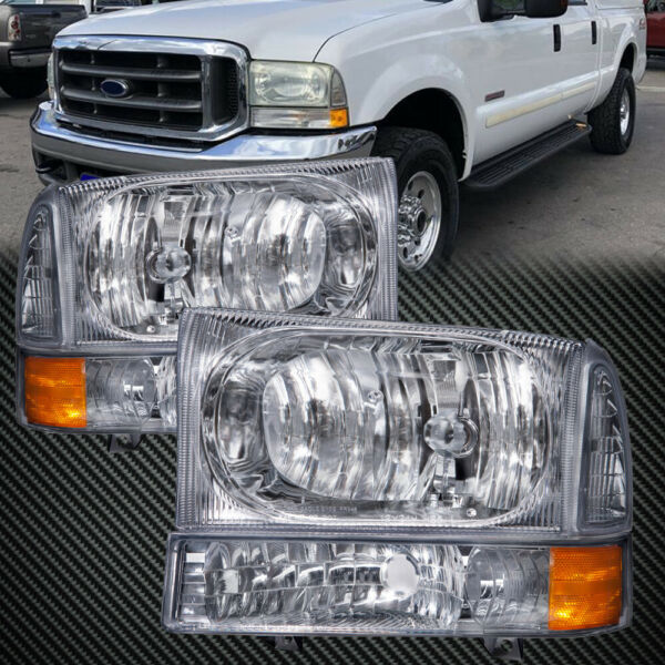 Headlights Fit 1999-2004 Ford F250 F350 Superduty Ford Excursion W/ Xenon Set