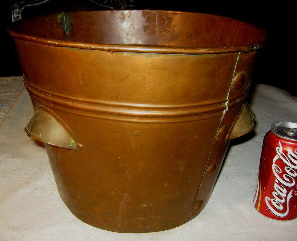ANTIQUE INDUSTRIAL DAIRY COPPER WINE ART PAIL BUCKET BREWERY STILL BOTTLE HOLDER