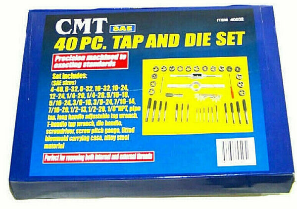 40pc SAE Standard Tap amp; Die Set w Case Screw Extractor Remover Kit Thread