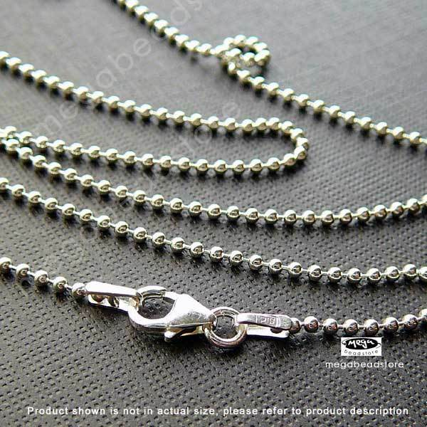 Italy 925 Sterling Silver 1.5mm Ball Chain Necklace 18in 20in 22in 24in FC5