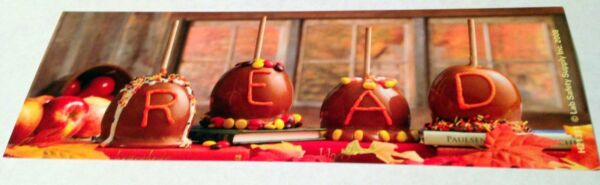 NEW 12 CARAMEL APPLE quot;READquot; BOOKMARKS BOOK CLUB HALLOWEEN PARTY FALL REWARDS $5.95