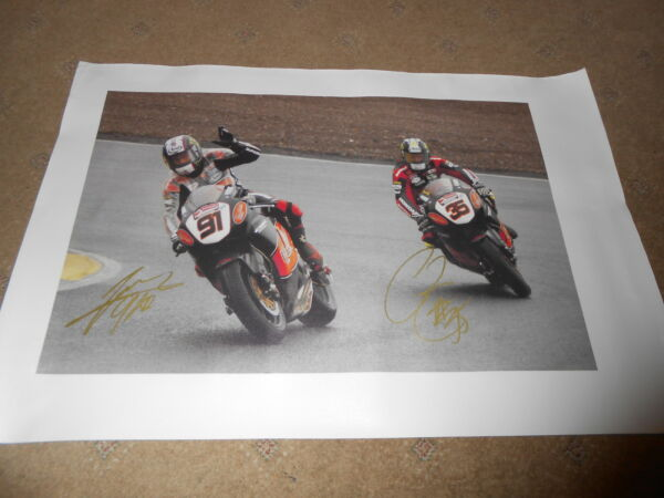 Haslam Crutchlow Honda Hand Signed Canvas 600mm x 390mm Very Rare Large.