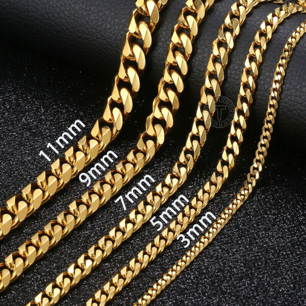 18quot; 36quot; Stainless Steel Gold Tone Chain Cuban Curb Mens Necklace 3 5 7 9 11mm