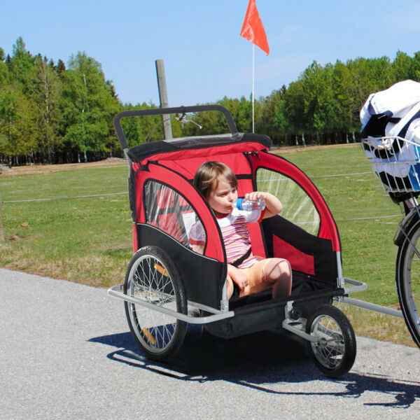 Elite Double Baby Bike Trailer Stroller Child Bicycle Kids Jogger Red $142.99