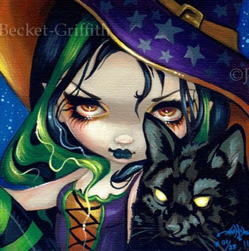 Faces of Faery 114 Jasmine Becket-Griffith art CANVAS PRINT Halloween Witch cat