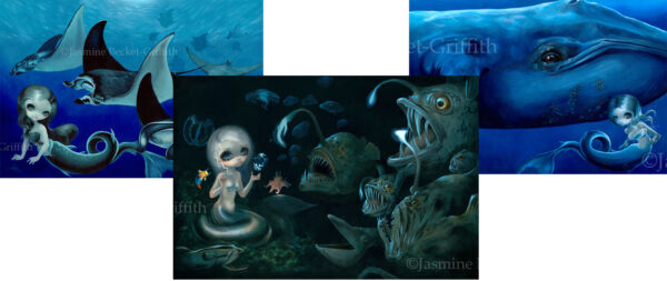 Jasmine Becket-Griffith SIGNED 3 Art Prints Blue Whale Manta Ray Abyssal Mermaid