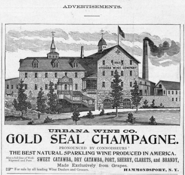 URBANA WINE COMPANY GOLD SEAL CHAMPAGNE BEST NATURAL SPARKLING WINE PRODUCED