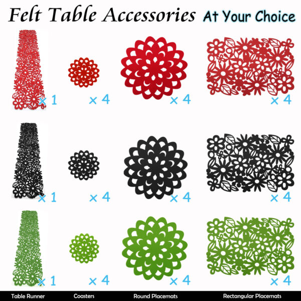 Table FELT Accessories Runner Placemats Coasters Dollies RED GREEN BLACK AU $24.95