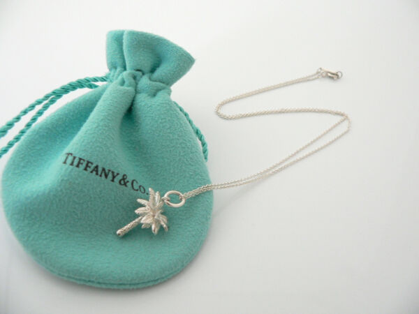 Tiffany & Co Silver Nature Palm Tree Necklace Pendant Charm Chain Excellent