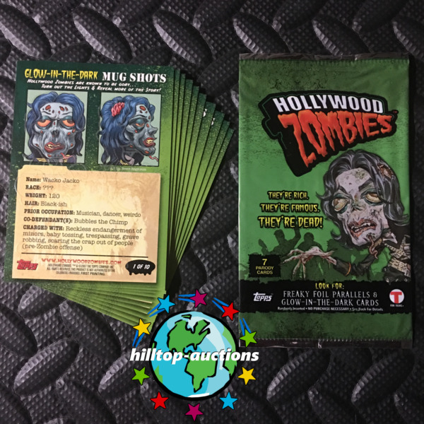 HOLLYWOOD ZOMBIES GLOW MUG-SHOT SET GARBAGE PAIL KIDS & THE WALKING DEAD UNITE!