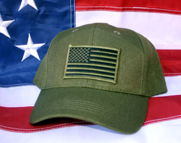 US MARINES TACTICAL OD GREEN USA FLAG PATCH HAT WOWMH MARINE PIN UP FMF DOC USS