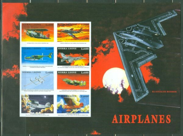SIERRA  LEONE  IMPERF AIRPLANES STEALTH BOMBER SHEET  SC#2172  MINT NH $39.95